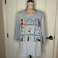 Womens PGB L Gray Cat Kitten Shirt Embroidered Embellished Studded 3/4 Sleeve