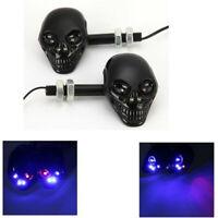 2X Universal Motorcycle LED Turn Signal Indicators Turning Light Punk Skull