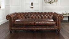 Chesterfield Design Luxus Polster Sofa Couch Sitz Garnitur Leder Vintage Neu 259