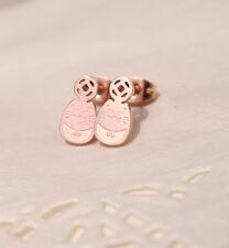 18K Rose Gold GF Lady Girl's Japanese Lucky Cat Maneki Neko Solid Stud Earrings