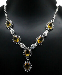 """925 Sterling Silver Yellow Citrine Gemstone Jewelry Necklace Size-17-18"""""""