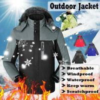 Men Winter Hoodie Waterproof Windproof Jacket Snow Coat Rain Warm Outdoor Ski