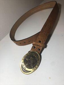 Nocona Genuine Leather Oklahoma 1907 Heritage Mint Registered Brass Belt Buckle