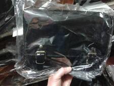 borsa DONNA in CUOIO PELLE  NERA CON Tracolla Artigianale bag 30x22 L8CM