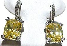 JUDITH RIPKA 18K WHITE GOLD DIAMOND & CANARY YELLOW EARRINGS PAIR PIERCED