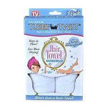 Turbie Twist White Super-absorbent Hair Towel 2 Pack