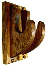 "Oak Gun Rack Hangers Rifle Shotgun Com Wall Display 2"" Hooks - Red Mahog Finish"