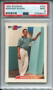 1992 Bowman Baseball 302 Mariano Rivera Rookie Card RC Graded PSA Mint 9 Yankees