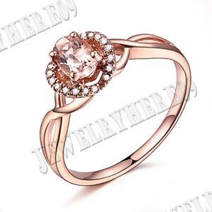 10k Rose Gold Gift Fine Jewelry Oval 6x4mm Pink Morganite Diamonds Gemstone Ring
