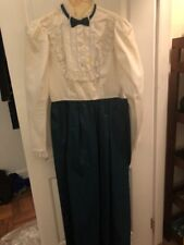Vintage 1980s Prom dress Bridesmaid Dress Green And White, M