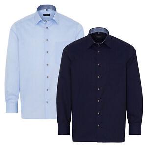 ETERNA Herren Langarm Business Hemd Comfort Fit Kent blau marine Patch 8104.E14E