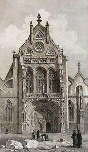 Façade de l'église de Brou Rhône estampe première moitié XIXe France