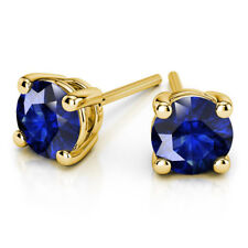 4.00 Ct Real Round Solitaire Blue Sapphire Earrings 14K Solid Yellow Gold Studs