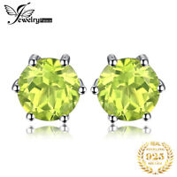 JewelryPalace Round 1.1ct Natural Peridot Stud Earrings  925 Sterling Silver