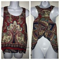 Patrons of Peace Paisley Boho Open Back Sleeveless Tank Top Sz MEDIUM