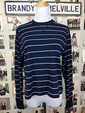 Brandy Melville Navy Blue White Striped long sleeve Crewneck Gretchen Top NWOT
