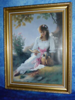 Pretty FRAMED ART PRINT by Mark Anai: Young woman in white dress with kitten cat
