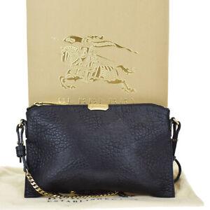 Auth BURBERRY Logo Nova Check Chain Shoulder Clutch Bag Leather Black 37BS325