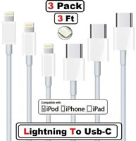 3x Lightning to USB-C Charger Cable For iPhone11 Por Macbook Fast Charging Cord