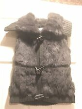 YVES SALOMON 14417 GRAY FUR TRIMMED KNIT SWEATER VEST SZ 40/US 8