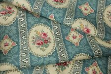 Antique French fabric floral & stripe blue rose bouquet printed cotton c1900
