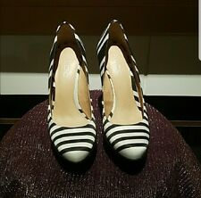 Aldo Womens Black/White Stripe Suede High Heel Wedge Shoes Size 6M