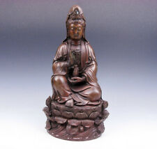 Antique Brass Crafted LARGE HEAVY Sculpture Seated Kwan-Yin Buddha Lotus Base