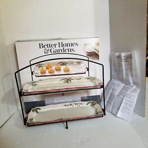 Serving Tray Better Homes and Garden Heritage Holly Winter Forest 2 Tier Trey