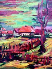 Altes Gemälde - Herbstliche Landschaft mit Dorf signiert Kainz
