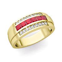 14K Yellow Gold Natural Square Ruby & Diamond Gem Stone Men's Band Ring