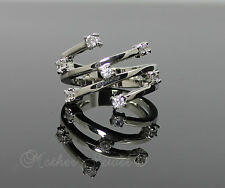 Beautiful Gift 18ct White Gold GP Lucky Seven CZ Dress Designer Ring Size 7 Med
