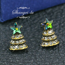Vintage Style GOLD Layered STAR XMAS TREE Earrings with SWAROVSKI CRYSTAL DY4424