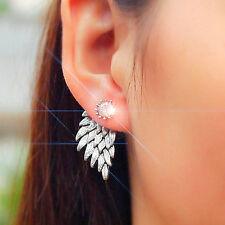 Crystal Stud Earrings Angel Wings Bridal Rhinestone Silver Dangle Party Wedding