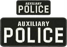 AUXILIARY POLICE EMBROIDERY PATCH 4X10 AND 2X5 HOOK ON BACK BLACK/WHITE