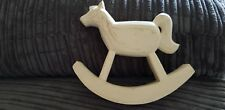 EAST OF INDIA SHABBY CHIC WOODEN ROCKING HORSE CHRISTENING GIFT