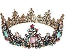 Women Colorful Crystal Retro Black Bronze Queen Hair Headband Head Crown Tiara