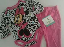 Minnie Mouse Girls Set 3-6 Mo Infant Baby Outfit Leopard Print Sparkle Bow
