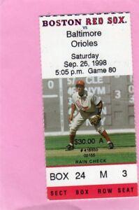 1998 Dennis Eckersley Ticket Last GM 1071/Last K 2401 Ticket Pass  Boston HOF