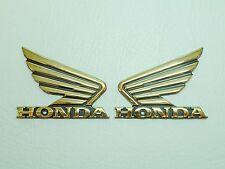 2 x HONDA WINGS GOLD MOTORBIKE MOTORCYCLE BADGE DECAL CHROME FUEL TANK STICKER