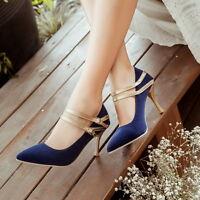 Women Pointed Toe Velvet Elegant OL Ankle Strap High Heel Pumps Casual New Shoes