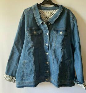 Ladies plus size 26 BEME Blue denim  Jacket  inside stars NEW  RRP$79.99