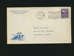 1947 Prexie Cover Marymount Collecge Saina,KS Jubilee Envelope 3 cent Jefferson