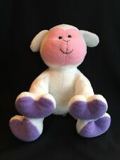 Commonwealth Plush White Lamb Pink Face Beaded Eyes Purple Feet