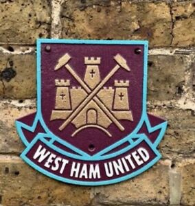 HAND PAINTED REPRODUCTION West Ham United Cast Iron Sign Man Cave/Wall Plaque