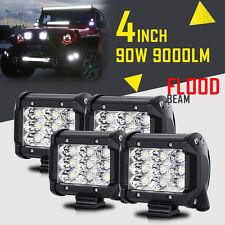 "4X 4INCH 90W FLOOD BEAM CREE LED Light Bar Work Lamp Fog Backup Offroad 4WD 5/7"""