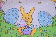 A LAVENDER EASTER OF BABY BUNNY SHENANIGANS! VTG GERMAN DAMASK PRINT TABLECLOTH