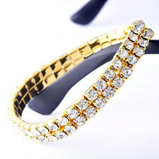 Fashion Womens Yellow Gold Filled 2-ROW Clear Crystal Stretch Tennis Bracelet