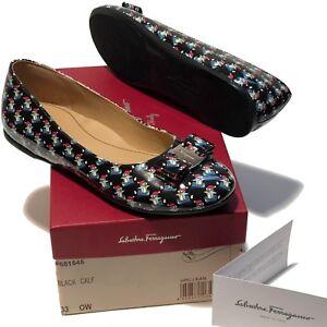 NEW Ferragamo Girl's Black Mini Vara Varina Leather Loafers 2 33 Pumps Women's
