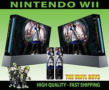 NINTENDO Wii Adesivo ALICE follia restituisce WONDERLAND Pelle grafica e 2 pad Pelle