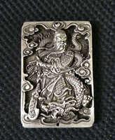 China Miao Silver Guangong Guan Gong Yu Warrior God Sword Bixie Amulet Pendant